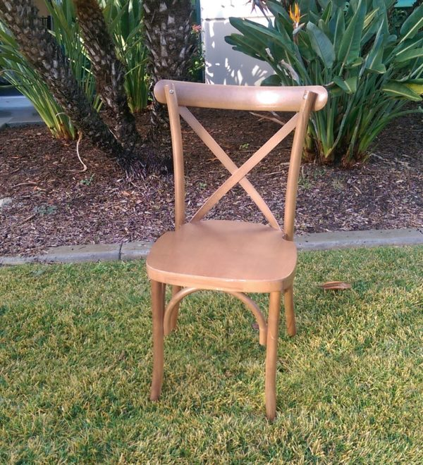 Cross-back Pecan Wood Chair