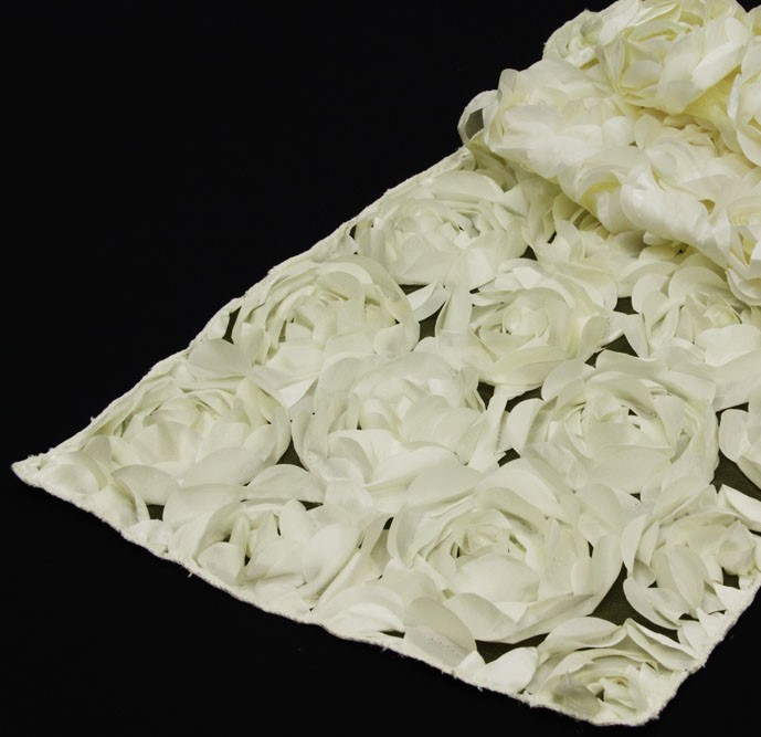 Rosette Table Runner Off White 12inx120in Party Rental