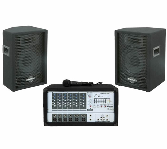 Small Auditorium PA System (200W) - 2 Speakers, Mic, and Power M