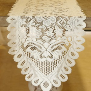 Table Runner Lace Ivory 13in x 120in - Ivory