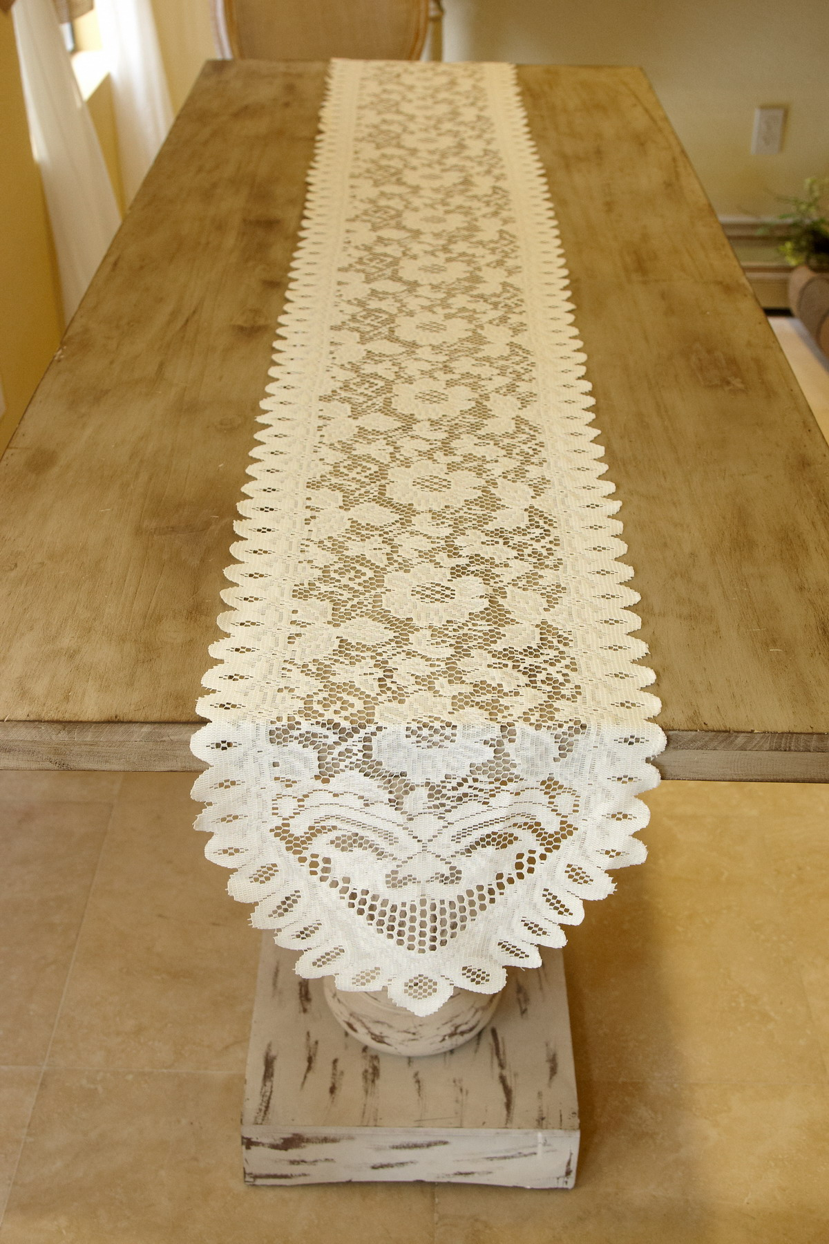 Table Runner Lace Ivory 13in X 120in Ivory Party